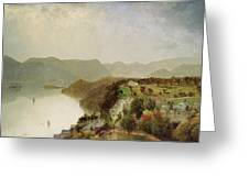 View Of Cozzen's Hotel Near West Point - Ny Greeting Card by John Frederick Kensett