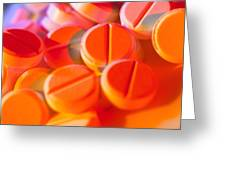 View Of Several Scored Paracetamol Tablets Greeting Card by Steve Horrell