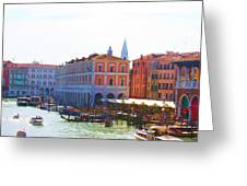 View Of Venice's Market Greeting Card by Christiane Kingsley