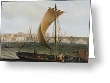 View On The Thames With Westminster Bridge Greeting Card by Samuel Scott
