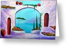 Villa Gardens Of The Mediterranean Greeting Card by Larry Cirigliano