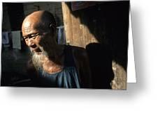 Village Elder At Doorway, Yangdi Greeting Card by Raymond Gehman