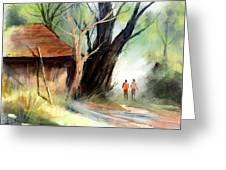 Village Greeting Card by Kiran Kumar