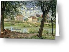 Villeneuve La Garenne Greeting Card by Alfred Sisley