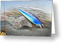 Vintage Fishing Lure - Floyd Roman Nike Blue And White Greeting Card by Mother Nature