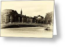 Vintage Ha'penny Bridge Greeting Card by John Rizzuto