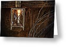 Vintage Lantern Hung in a Barn Greeting Card by Jill Battaglia