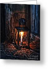 Vintage Lantern In A Barn Greeting Card by Jill Battaglia