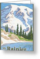 Vintage Mount Rainier Travel Poster Greeting Card by Mitch Frey