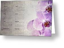 Vintage Orchid Calendar 2013 Greeting Card by Jane Rix