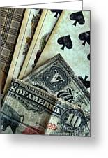 Vintage Playing Cards And Cash Greeting Card by Jill Battaglia