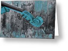 Violinelle - Turquoise 04d2 Greeting Card by Variance Collections