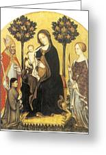 Virgin And Child Enthroned Greeting Card by Gentile Da Fabriano
