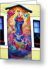 Virgin Mary Mural Greeting Card by Mariola Bitner
