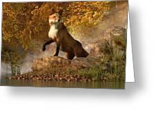 Vixen By The River Greeting Card by Daniel Eskridge