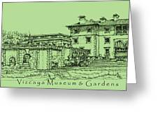 Vizcaya Museum In Olive Green Greeting Card by Lee-Ann Adendorff