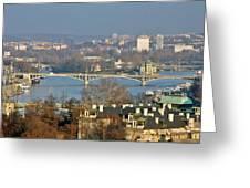 Vltava River In Prague - Tricky Laziness Greeting Card by Christine Till