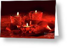 Votive Candles On Dark Red Background Greeting Card by Sandra Cunningham