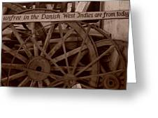 Wagon Wheels Of St. Croix Greeting Card by Dennis Stein
