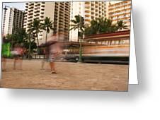 Waikiki Blur Greeting Card by Ashlee Meyer