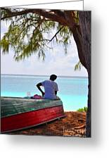 Waiting For Her Ship To Come In Greeting Card by Li Newton