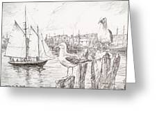Waiting For The Boats Greeting Card by Leslie Cope