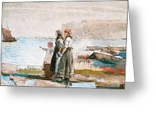 Waiting For The Return Of The Fishing Fleets Greeting Card by Winslow Homer