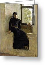 Waiting Greeting Card by Jean Pierre Laurens