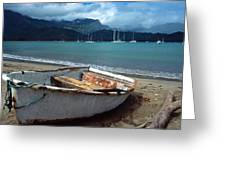 Waiting To Row In Hanalei Bay Greeting Card by Kathy Yates