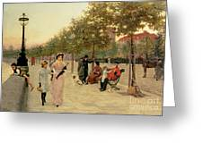 Walk Along The Embankment At Chelsea Greeting Card by Frederick Brown