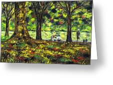 Walk In The Park Greeting Card by John  Nolan