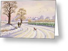 Walk in the Snow Greeting Card by Lavinia Hamer
