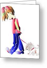 Walking The Dog Digital Art Characters Greeting Card by Ckeen Art