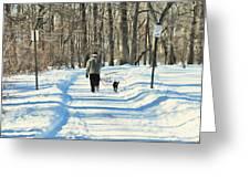 Walking the dog Greeting Card by Paul Ward