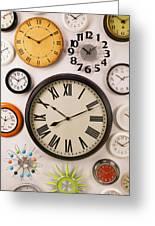 Wall Clocks Greeting Card by Garry Gay