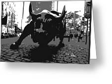 Wall Street Bull Bw3 Greeting Card by Scott Kelley