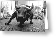 Wall Street Bull BW8 Greeting Card by Scott Kelley