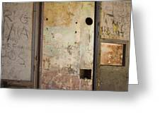Walls With Graffiti In An Abandoned House. Greeting Card by Bernard Jaubert