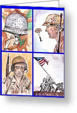 War Watercolor Collage Greeting Card by Myrna Migala