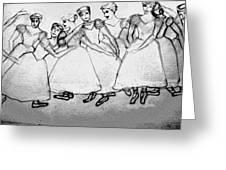 Warming Up - The Ballet Chorus Greeting Card by Forartsake Studio