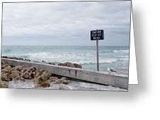Warning Sign At The Beach Greeting Card by Skip Nall