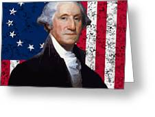 Washington And The American Flag Greeting Card by War Is Hell Store