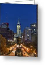 Washington Monument And City Hall Greeting Card by John Greim