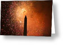 Washington Monument and Fireworks I Greeting Card by Phil Bolles