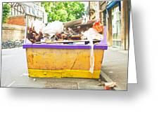 Waste Skip Greeting Card by Tom Gowanlock