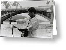 Water Engineer Monitoring Radiation In River Greeting Card by Ria Novosti