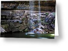 Water Flow Over A Rock At Hamilton Pool Greeting Card by Lisa  Spencer