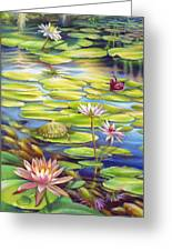 Water Lilies At Mckee Gardens I - Turtle Butterfly And Koi Fish Greeting Card by Nancy Tilles
