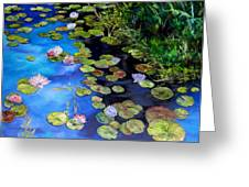 Water Lilies On Blue Greeting Card by Diane Kraudelt