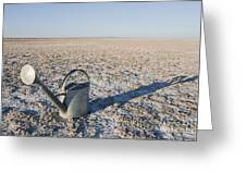 Water Pail On Dried Mud Greeting Card by Thom Gourley/Flatbread Images, LLC